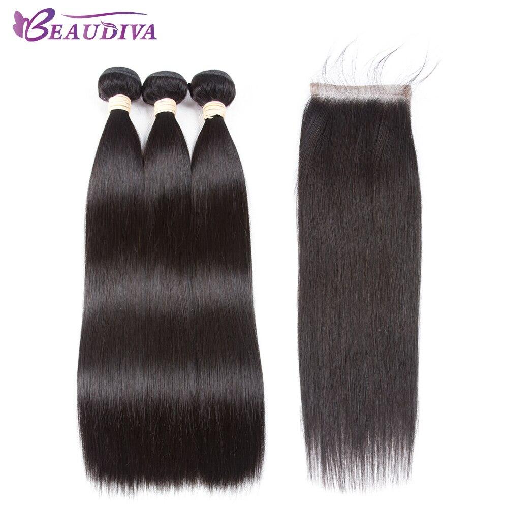 Beaudiva Hair Extension 100% Human Hair Bundles With Closure Brazilian Hair Weave Bundles Straight 3 Bundles With Lace Closure