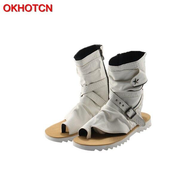 Okhotcn الجلود الصيف أسلوب فاسق الرجال الصنادل المفتوحة مصارع الأسود عارضة شقة أحذية الكاحل الجوارب الرجال أحذية الشاطئ