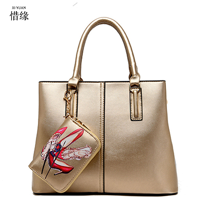 XIYUAN BRAND woman fashion luxury European and American Style Shoulder & Crossbody Composite Bags lady hand messenger bag gold xiyuan brand fashion red black brown color women girls zipper embroidered shoulder bag leather crossbody bags luxury for lady