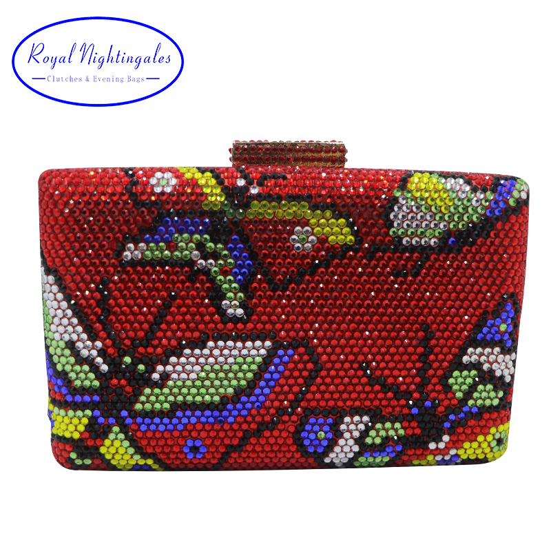 Royal Nightingales Red Butterfly Crystal Clutches Box Evening Bag and Evening Handbags for Womens Party Wholesale