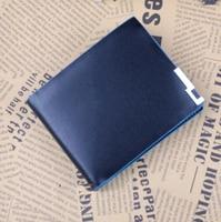 2015 New Stylish Wholesale New Design PU Leather Men Wallets High Quality PU Short Blue Purse
