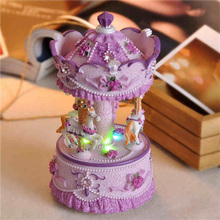 Carousel Music Box Merry-go-round Mini Musical Boxes with Flashing Light for Girls Birthday Gifts Home Decoration