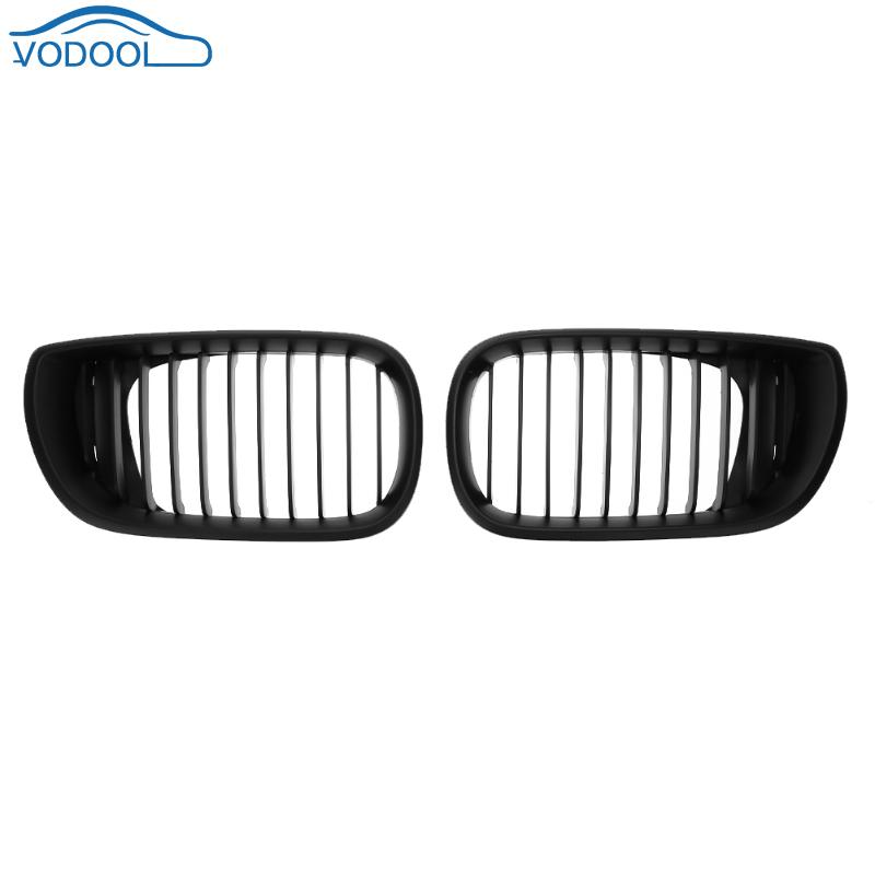 1 Pair Automobile Front Kidney Grille Car Racing Matte Black Kit for BMW 3 Series E46 4 Doors 02-05 Car Racing Car Accessaries sugeryy 1 pair car style matte black 3 color front center kidney racing grilles for bmw 3 series e90 e91 2009 2011 car grille