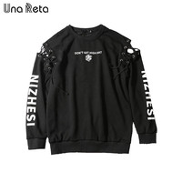 Una Reta Brand design Bandage Hoodies Casual Men Fashion Sweatshirts Pullover Hoodie Sweatshirts Rock Punk Hip-hop style Hoodie