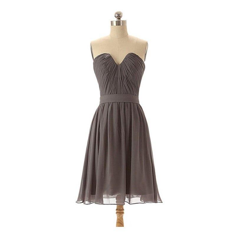 Cheap Wedding Dresses For Sale: Short Gray Sweetheart Cheap Chiffon Bridesmaid Dress 2016