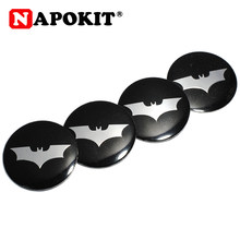 4 pièces 56mm Bat Logo voiture volant Badge Center autocollant voiture style pour Ford focus 2 3 Chevrolet Cruze Hyundai OPEL Astra(China)
