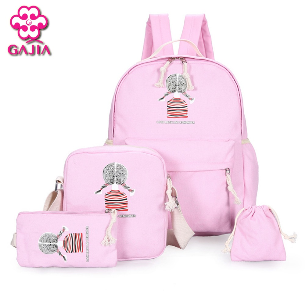 2016 New Fashion Student Book Sets Bag Women Backpack High Quality Canvas Preppy Style Girl Kawaii Backpack Composite Bag