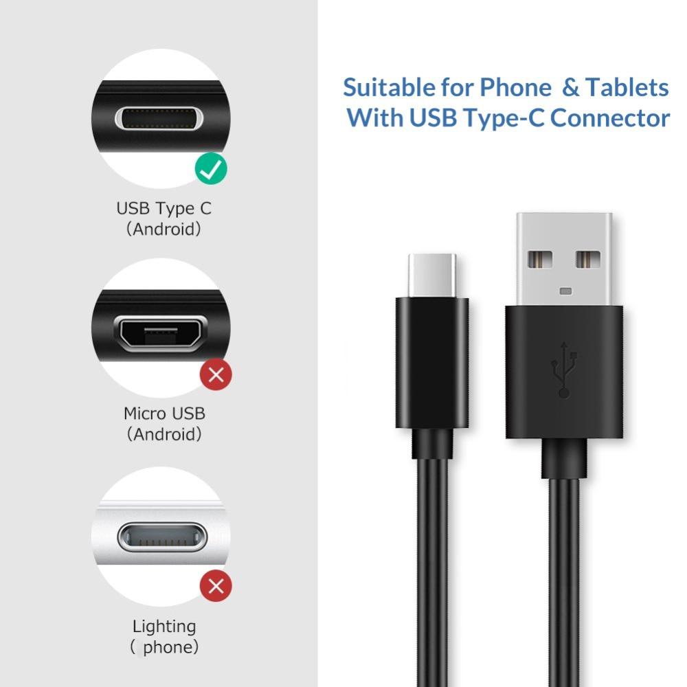 1M 2A Adaptador de Energia USB Para O Tipo C Cabo de Carregamento Data Cabo para Mobie Telefone Huawei Companheiro Nova P10 p20 P30 Xiaomi 9 Se Nota 7 9t