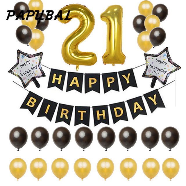 1set 21 18 25 30 50 Years Old Birthday Balloons Party Decoration Black Banner 32g Gold Latex Balloon 40inch Number Digit Globos