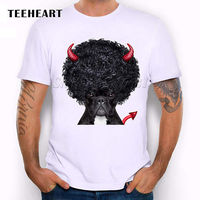 Dog With Afro Hair Devil S Horns Tail Animals Cute Funny Joke Men T Shirt Tee