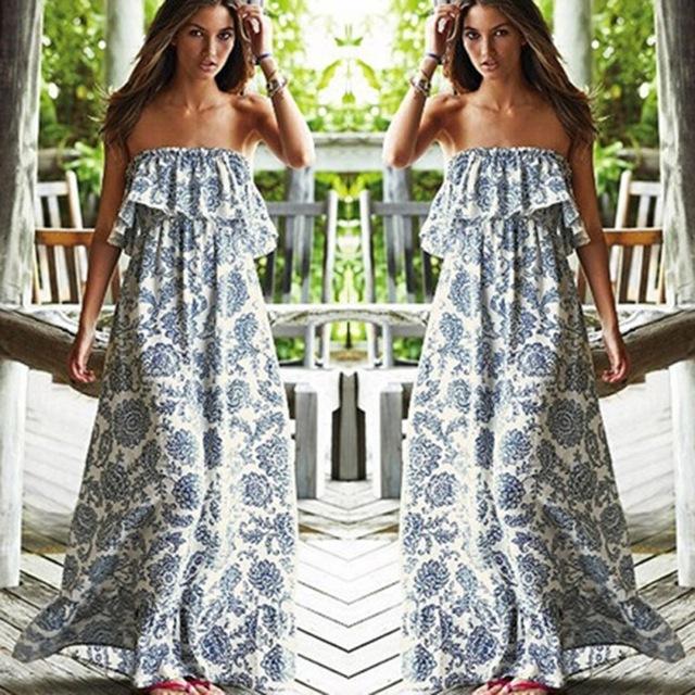 New Sexy Off Shoulder Long Maxi XL Dress Women BOHO Evening Beach Sundress vestidos Shipping From USA