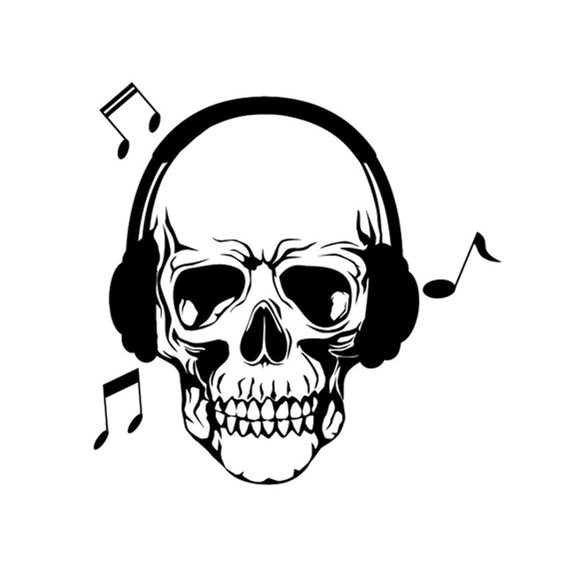 15 4cm15 1cm interesting skull love song music headphones vinyl stickers car black