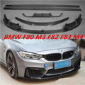Carbon fiber Front & Rear Bumper Lip Spoiler & Diffuser Cover & Side Skirt For BMW F80 M3 F82 F83 M4 2014-2018