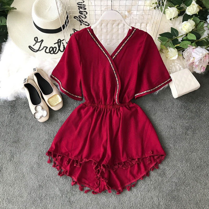 Nicemix Playsuits For Women 2019 Fashion Women Beach Holiday Boho Patchwork Tassel V-Neck Sleeveless Short Pants Tassel Jumpsuit