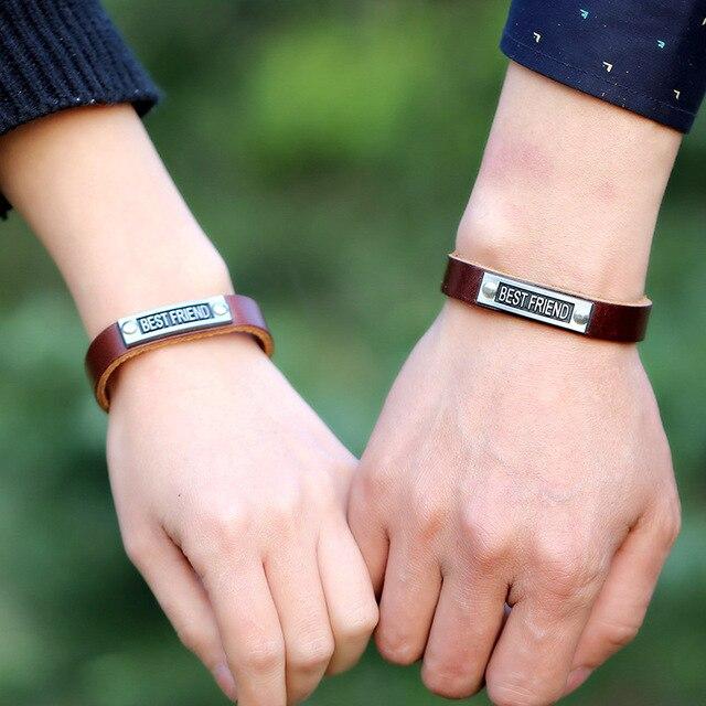 06235781a5bb 2 unids lote pulsera de cuero genuino mejor amigo pulsera de moda de cuero  populares