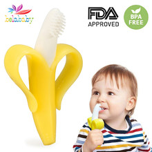 Banana Baby Teether Safe Food Grade Silicone Teething Mitts Infant Dental Care Teethers Toy Gifts Teether(China)