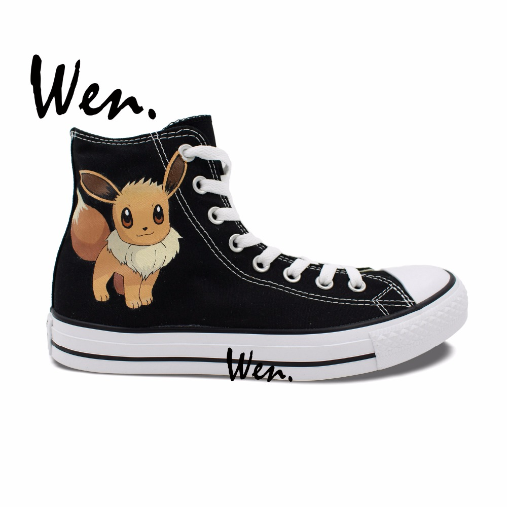 ФОТО Wen Anime Sneakers Hand Painted Design Custom Shoes Pokemon Pocket Monster Eevee Fox High Top Men Women's Black Canvas Sneakers