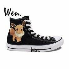 Вэнь Аниме Кроссовки Ручная Роспись Дизайн Пользовательского Обувь Pokemon Pocket Monster Eevee Fox Высокий Верх Мужская женская Черный Холст кроссовки