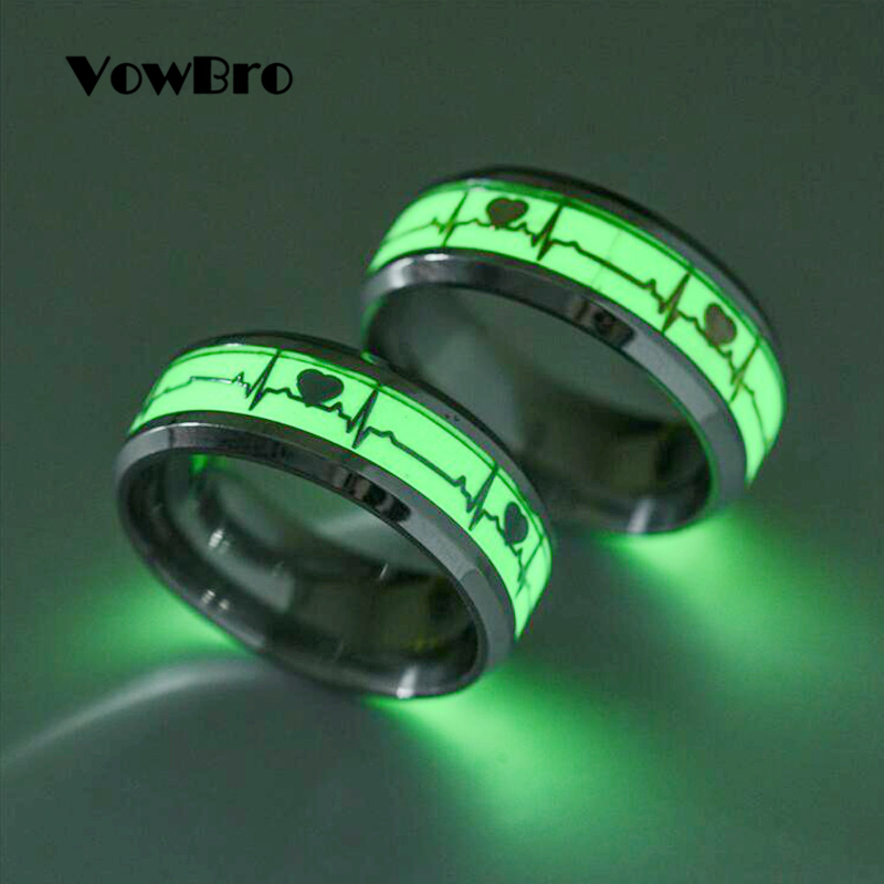 VowBro Glow in the Dark Heart Rate Electrocardiogram Men's Rings Stainless Steel Wave Couple Female Male Wedding Ring