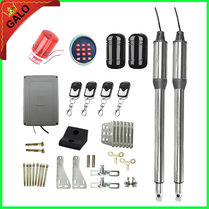 Automatic Dual Swing Gate Opener Motor Kit with Beam Sensor Infrared 100m &1 flash light 4 Remote controls 1 wireless keyboard automatic swing gate opener motors for 300kg gate 2 remote controls