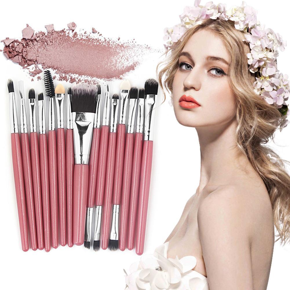 2018 Popular 15pcs Makeup Brushes Set Beauty Foundation Power Blush Eye Shadow Brow Lash Fan Lip Face Make Up Brushes