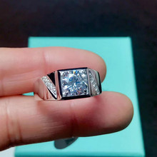 Classic 2ct Carat Square Moissanite Engagement Rings mens 925 Sterling Silver Platinum Plated Male D Color VVS1 CLARITY