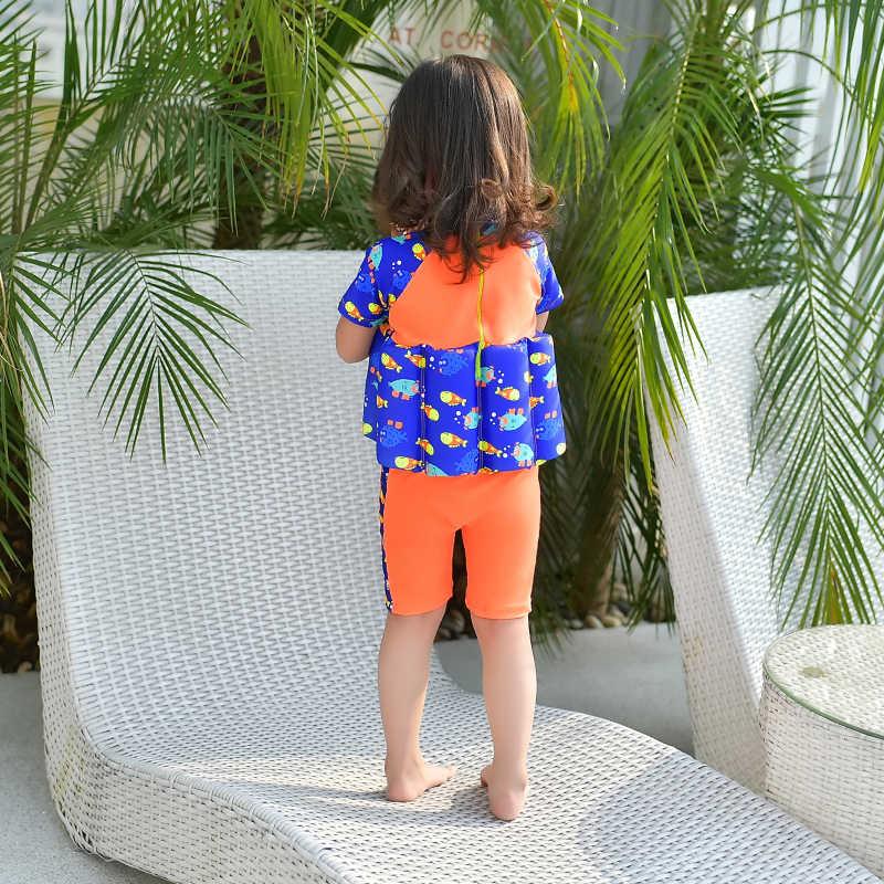 Детский купальный костюм с героями мультфильмов; цельный профессиональный костюм для занятий плаванием; защитный купальный костюм с поплавком; купальный костюм до колена