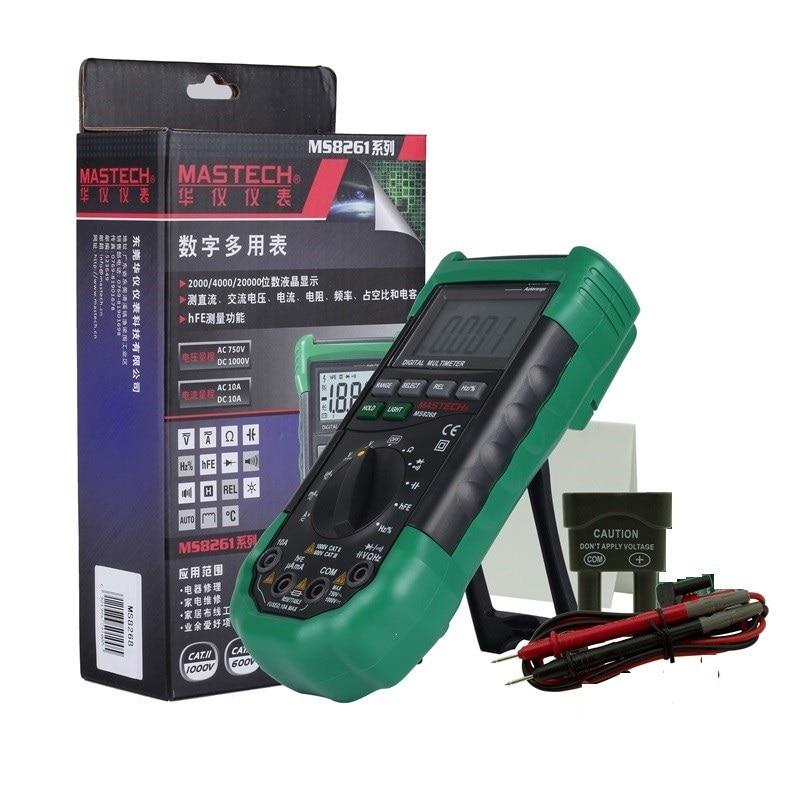 Mastech MS8268オートレンジデジタルマルチメーター完全保護AC / DC電流計電圧計オーム周波数電気テスターダイオードテスト