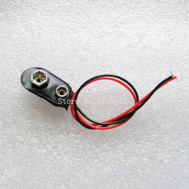 20 PÇS/LOTE Snap-on 9 v Clipe de Bateria de 9 V Bateria Para Arduino Com Suporte Do Fio de Cabo Leads Cord