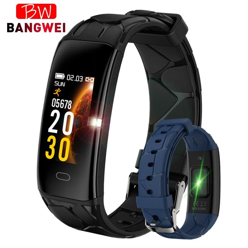 BANGWEI 2018 Novo Esporte Homens Relógio À Prova D' Água Relógio Inteligente Monitor de Freqüência Cardíaca Bblood Pressão Banda Rastreador De Fitness Pedômetro inteligente