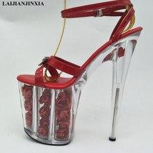 LAIJIANJINXIA nueva flor roja zapatos de boda mujeres motocicleta 20 cm  alto talón vestido sandalias de 1282cceca1ac