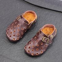 Boys Sandals Tenis Infantil 2019 Children's Sandals Hollow Genuine Leather Children Slippers Kids Shoes Baby Slippers Sandales