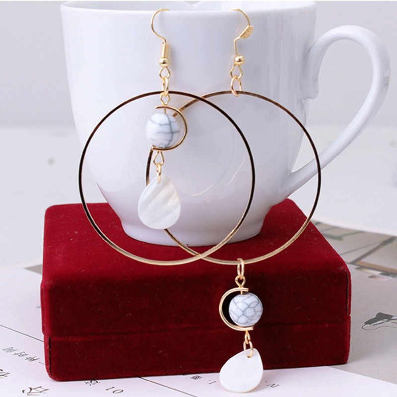 Asymmetric Natural Shell Retro Pendant long Dangle earrings Fashion Jewelry for Women Girl Party Accessories Geometry Earrings