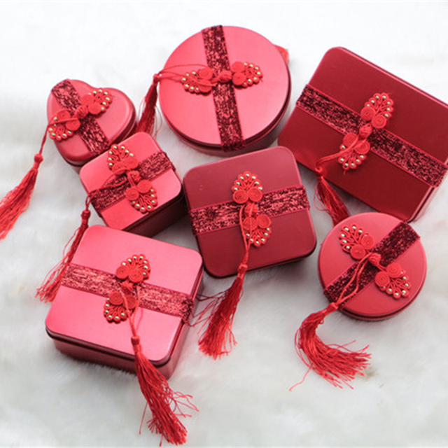 Chinese Vintage Gift Packaging Tin Box Candy Storage Metal Box Adorable Chinese Decorative Boxes