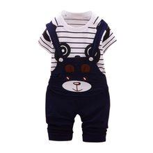 Conjuntos de ropa de bebé de algodón de los muchachos de dibujos animados  Panda T-Mierda + Pantalones de correa para bebé recién. 644a96d52224