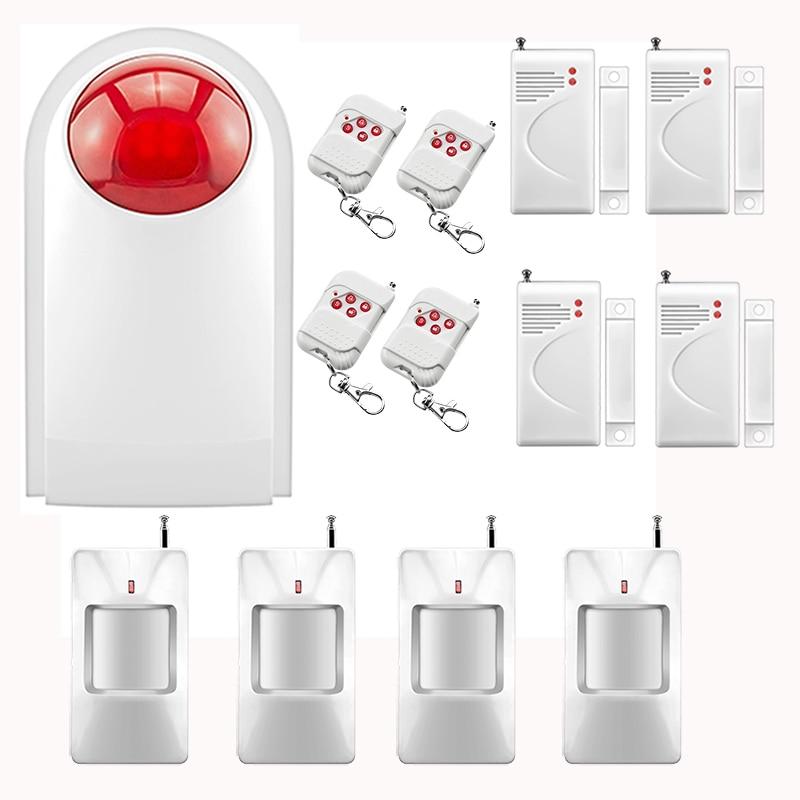 ФОТО Home Burglar Security Alarm System Wireless Flash Strobe Siren Detector Sensor Kit Home Garage Automation System 433MHZ