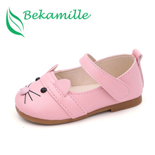 Bekamille Girls Leather Shoes 2017 Spring Autumn Children Sneakers Car