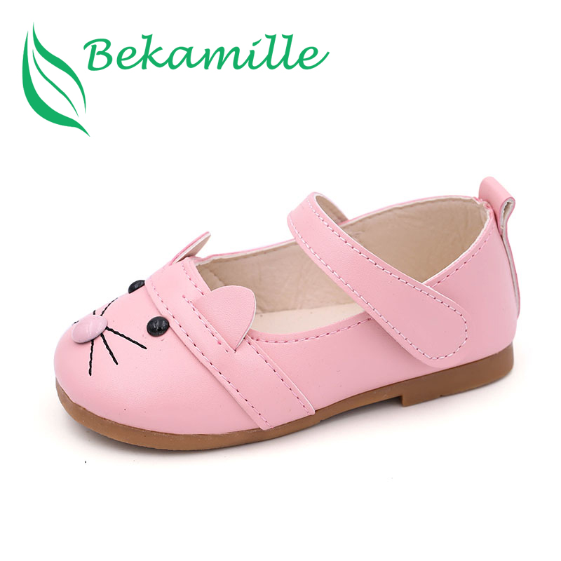 Bekamille Girls Leather Shoes Spring Autumn Children Sneakers Cartoon Cat Kids Baby Leisure Single Shoes For Female Kids