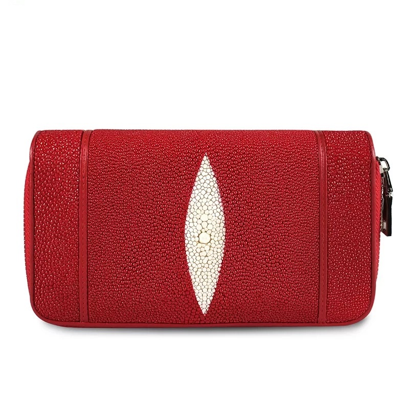100 Genuine Stingray Skin Leather Double Zippers Closure Women s Large Red Clutch Purse Wristlets Phone