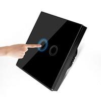 EU UK Standard 2 Gang 1 Way Crystal Glass Switch Panel Touch Sensing Wall Switch Home