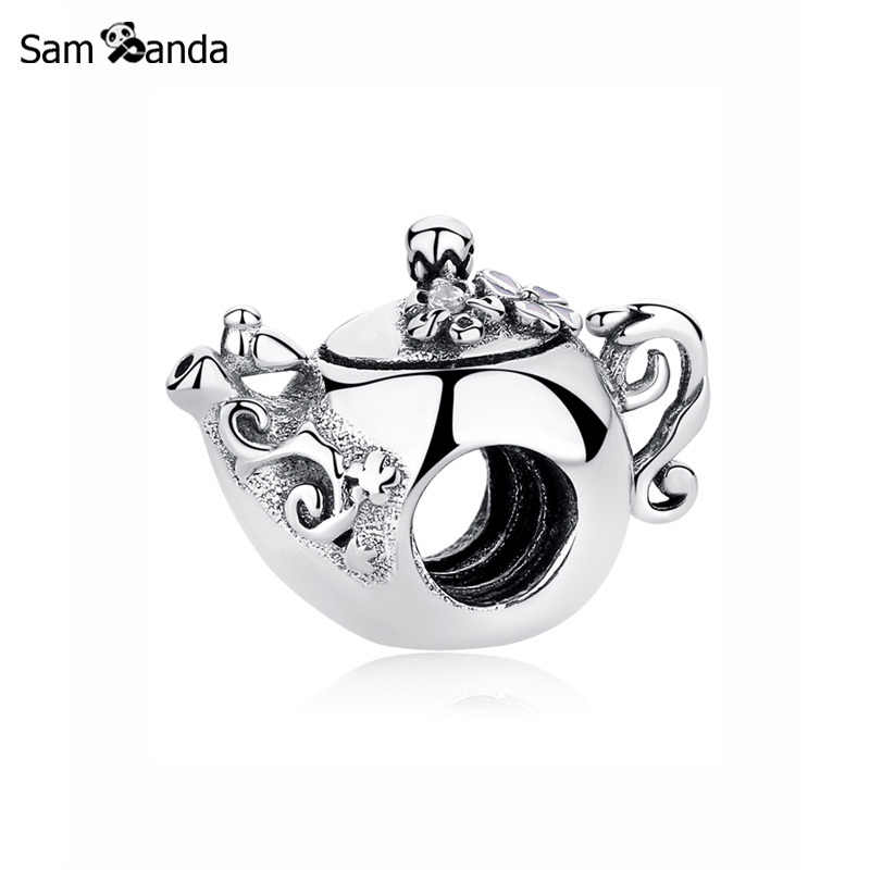 New Original 100% 925 Sterling Silver Bead Charm Enchanted Teapot Charms Afternoon Tea Fit Pandora Bracelets Women Diy Jewelry