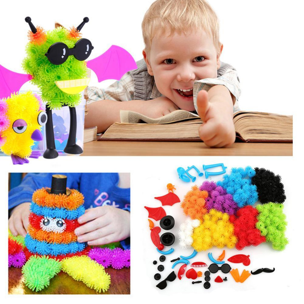 Assemble 3D Puzzle DIY Puff Ball Squeezed Ball Creative Thorn Ball Clusters Handmade Educational Toys Birthday Gifts