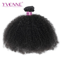 Yvonne Afro Kinky Curly Brazilian Virgin Hair 1/3 Piece Natural Color Human Hair Weave Bundles 8 28 Inches