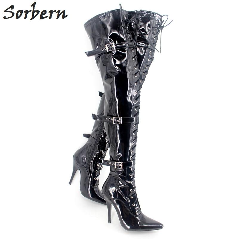 براءات جلدية لامعة النساء أحذية cuissardes - أحذية المرأة