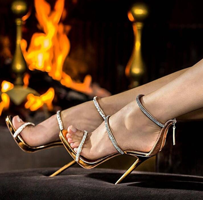Sexy gold high heels open toe ankle strap heels sandals beautiful women pumps stilettos sparkle rhinestone pumps shoes lady 2018 fashion women pumps sexy open toe heels sandals woman sandals thick with women shoes high heels s144