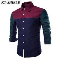 2017 New Fashion Men Patchwork Shirt New Arrival Long Sleeve Men Dress Shirt Casual Camisa Slim Fit Masculina Social Shirts Y103