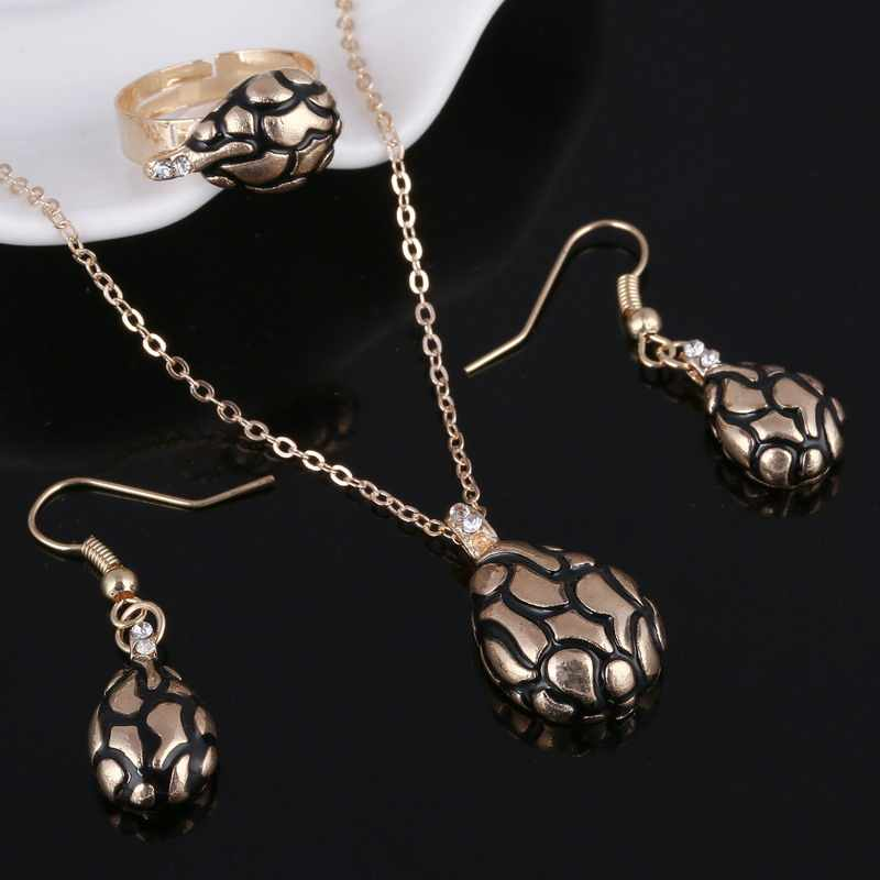 Heißer Verkauf Streifen Wasser Tropfen Anhänger Halsketten Frauen Drop Ohrringe Ringe Kette Schmuck Sets Für Frauen Hochzeit Partei