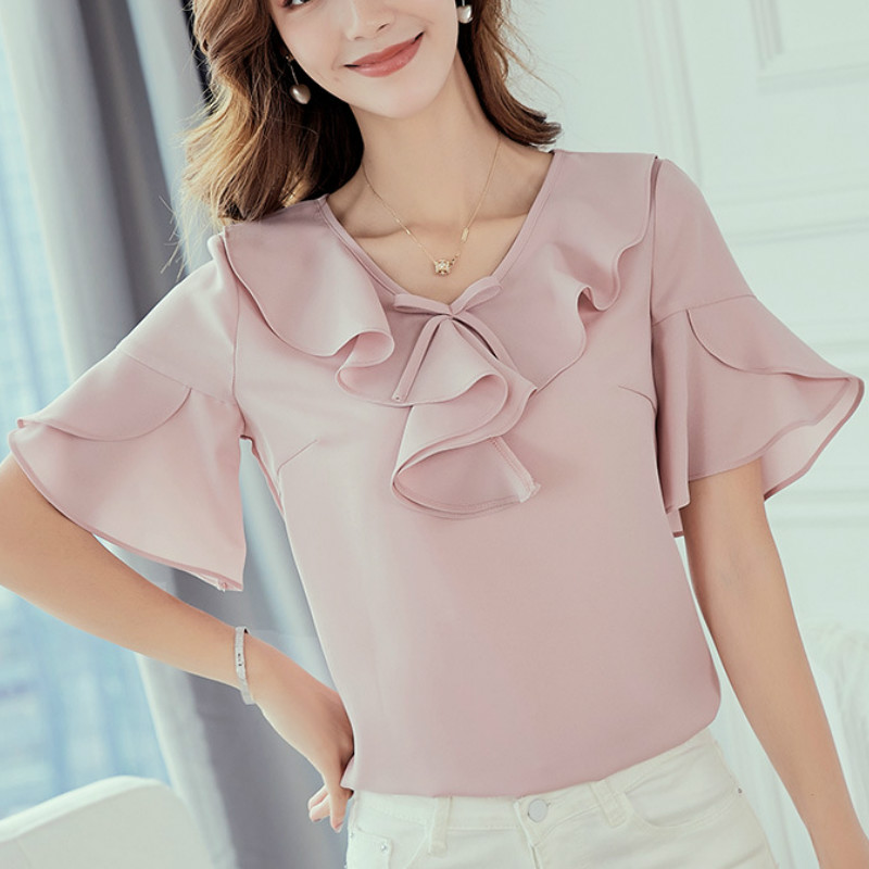 New Women 2019 Spring Summer Blouse Korean Style Shirt Fashion Casual Chiffon Shirts Short Sleeve Pink Blouses Plus Size Tops