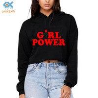 Harajuku Women Girl Power Rose Fashion Design Print Sexy Girls Tumblr Crop Top Clothing Cute Long