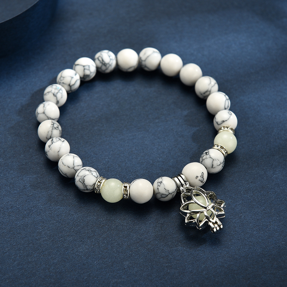 Natural Stones Luminous Glowing In The Dark Lotus Flower Shaped Charm Bracelet For Women Yoga Prayer Buddhism Jewelry 2